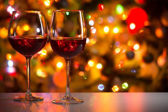Crystal glasses of wine