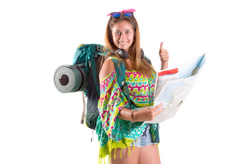 Traveling girl with backpack and map