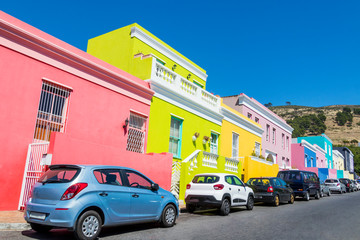 Viele bunte Häuser im Bo-Kaap Viertel in Kapstadt, Südafrika