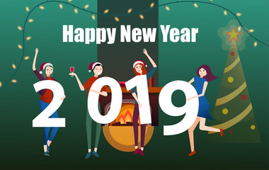 Happy New Year 2019 poster with people and figures.
