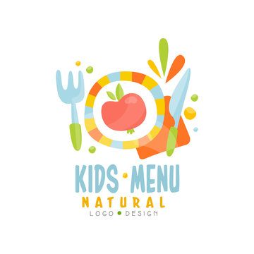 Kids natural menu logo design, healthy organic food banner or poster vector Illustration