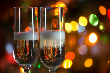 Champagne glasses and Christmas lights