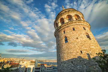 Close view on Galata tower - a famous landmark of Istanbul