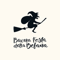 Hand written Italian lettering quote Buona Festa della Befana, Happy Epiphany, with flying witch. Isolated objects on white. Hand drawn vector illustration. Design concept, element for card, banner.