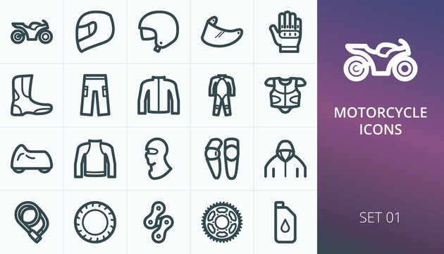 Motorcycle gear and parts icons set. Set of moto equipment, motorcycle helmet, body armor, gloves, moto pants, jacket, boots vector icons