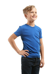 Cute boy in t-shirt on white background