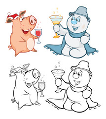 Canvas Prints Baby room Vector Illustration of a Cute Pig and a Snowman. Coloring Book Cartoon Безымянный-4