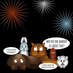 Animals afraid of loud bangs and whistles. Fireworks make stress during yearend celebrations. Dog, bunny, cat, squirrel and cavy sitting in stress. Fireworks on background. Vector illustration.