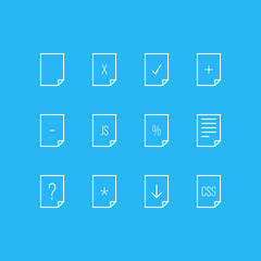 Vector illustration of 12 document icons line style. Editable set of contract, css, search and other icon elements.