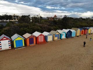 Ariel View of the Bath Boxes at Brighton Beach, Melbourne, Australia