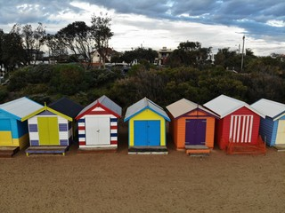 Ariel View of the Bath Boxes at Brighton Beach, Melbourne, Australia