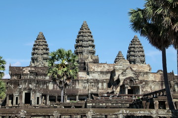 The Bayon is a richly decorated Khmer temple at Angkor in Cambodia.
