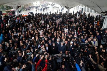 Yasin Aktay, adviser to Turkish president Erdogan, speaks during a symbolic funeral prayer for Saudi journalist Jamal Khashoggi at the courtyard of Fatih mosque in Istanbul