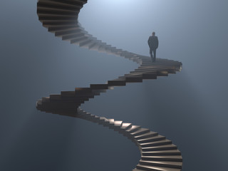 Photo sur cadre textile Spirale man climbs the spiral staircase