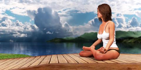 3D render 3D render Woman doing yoga and meditation on a desert island