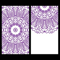 Templates for greeting and business cards. Vector illustration. Oriental pattern with. Mandala. Wedding invitation