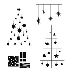 creative contour of the Christmas tree, a modern flat design