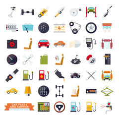 Car parts and service flat design isolated vector icons