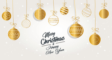 Greeting card Merry Christmas background. Vector illustration with Christmas elements baubles. The colors white, gold and black