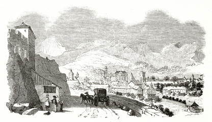 Old view of an ancient city with a rocky landscape on background. Chambery Savoie France. Created by Marville Andrew Best and Leloir published on Magasin Pittoresque Paris 1839