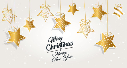 Greeting card Merry Christmas background. Vector illustration with Christmas elements stars. The colors white, gold and black