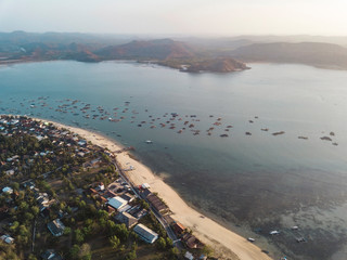 Indonesia, Lombok, Aerial view of lobster farm