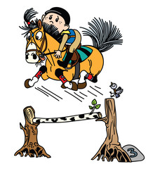 cartoon boy training his pony horse jumping over obstacle . Funny equestrian sport . Isolated vector illustration