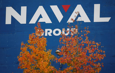The logo of Naval Group is seen at the industrial site of the naval defence company and shipbuilder in La Montagne near Nantes