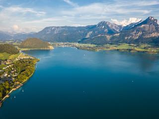 Austria, Salzkammergut, Sankt Wolfgang, Aerial view of Lake Wolfgangsee