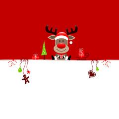 Background Reindeer & Symbols Red/Green
