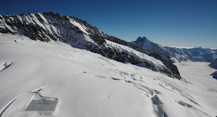 A general view shows 100,000 postcards with messages against climate change near Jungfraujoch