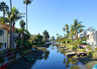 view into Venice Canals Los Angeles California