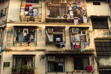 Old ruined condo building in Colaba, Mumbai, India