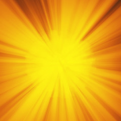 Background with abstract explosion or hyperspeed warp sun God rays. Bright orange yellow light strip burst, flash ray blast. Illustration with copyspace for your text