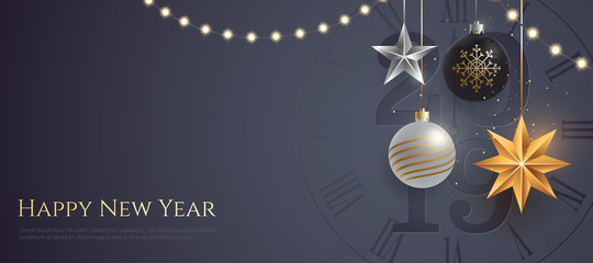 Happy new year 2019 banner template with copy space. Hanging Christmas toys and garlands with light bulbs on dark background. Winter Holiday card concept. Vector eps 10.