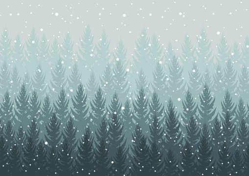 winter forest. falling snow in the air. christmas theme. new year weather. background