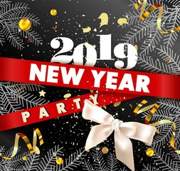 New Year 2019 party promotional poster with spruce branches, gold serpentine and confetti, bow of ribbon and huge sign on red stripes vector illustration.