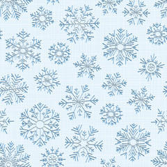 Seamless embroidery snowflakes background.