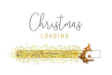 Christmas Loading with golden glitter.