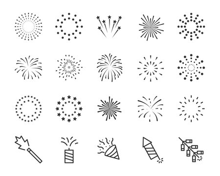firework line icon set, happy new year firework