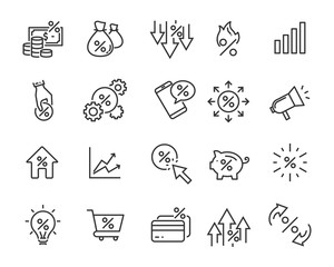 set of money line icons, such as currency, finance, digital, percent