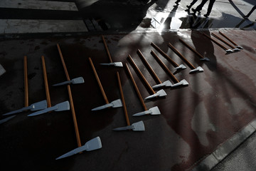 Axes are seen during a training session at the firefighter school in Oliveira do Hospital