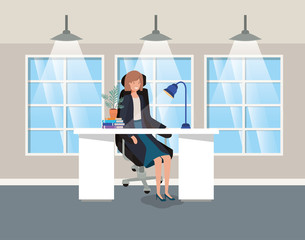 modern office with businesswoman sitting