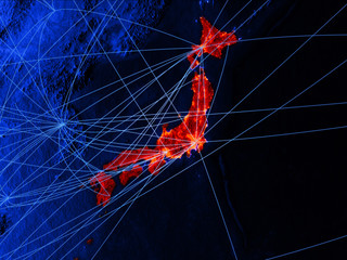 Japan on blue digital map with networks. Concept of international travel, communication and technology.
