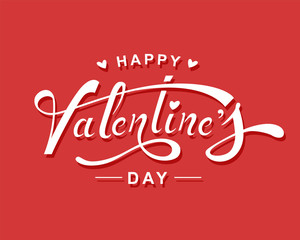 Happy Valentine's Day hand lettering design.Vector Illustration
