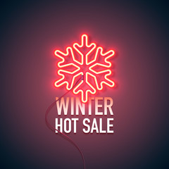 Bright heart. Neon sign. Retro neon Winter Hot Sale sign on purple background. Design element for your discount proposition. Ready for your design, banner. Vector illustration.