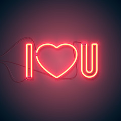 Bright heart. Neon sign. Retro neon I Love You sign on purple background. Design element for Happy Valentine's Day. Ready for your design, greeting card, banner. Vector illustration.