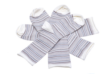 Jeans women's crew socks off white stripe color isolated on white background