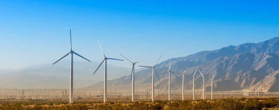 Windmills with Mountains
