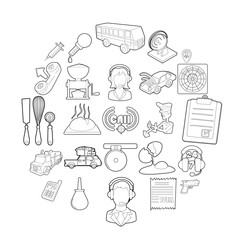 Children store icons set. Outline set of 25 children store vector icons for web isolated on white background